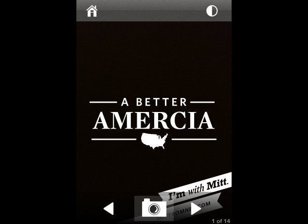 "A screenshot from ""With Mitt,"" the Romney campaign's new iPhone app."