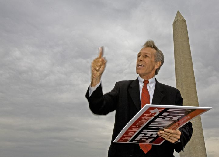 Washington, UNITED STATES: US Republican Representative Virgil Goode speaks near the Washington Monument during a rally spons