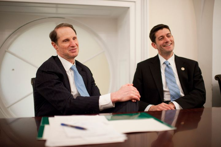 UNITED STATES - DECEMBER 14:  Sen. Ron Wyden, D-Ore., left, and House Budget Committee Chairman Paul Ryan, R-Wis., are interv