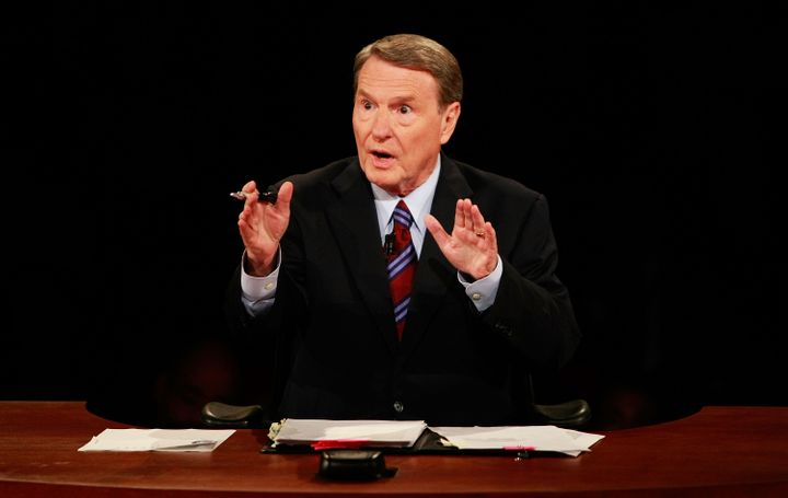 OXFORD, MS - SEPTEMBER 26:  Debate moderator Jim Lehrer speaks during the first of three presidential debates before the 2008