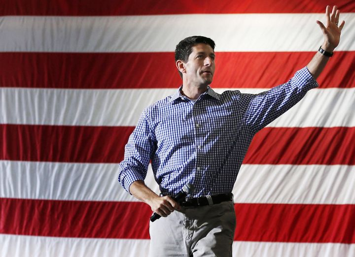GLEN ALLEN, VA - AUGUST 17: Republican vice presidential candidate Rep. Paul Ryan (R-WI) walks on stage during a campaign sto
