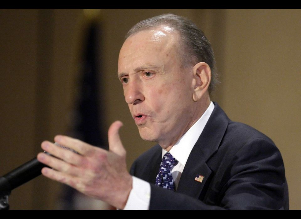 In this June 6, 2009 file photo, Pennsylvania Sen. Arlen Specter, D-Pa., addresses the Pennsylvania Democratic State Committe
