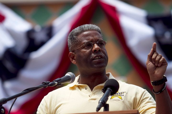 BOCA RATON, FL - APRIL 16:  Congressman Allen West speaks to a crowd at the 2011 Palm Beach County Tax Day Tea Party on April
