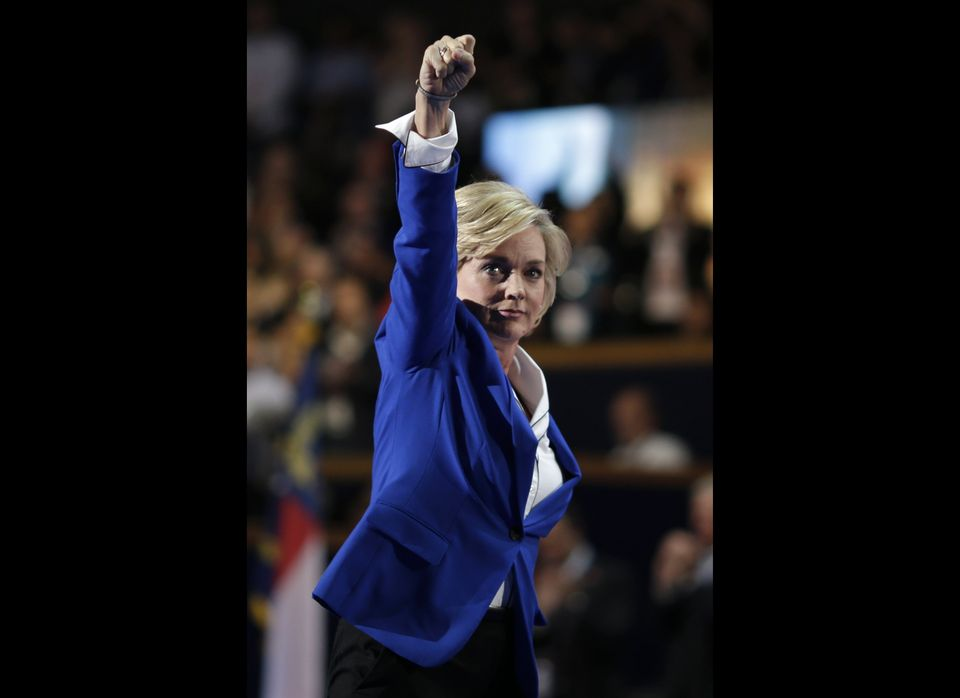 Former Michigan Gov. Jennifer Granholm addresses the Democratic National Convention in Charlotte, N.C., on Thursday, Sept. 6,