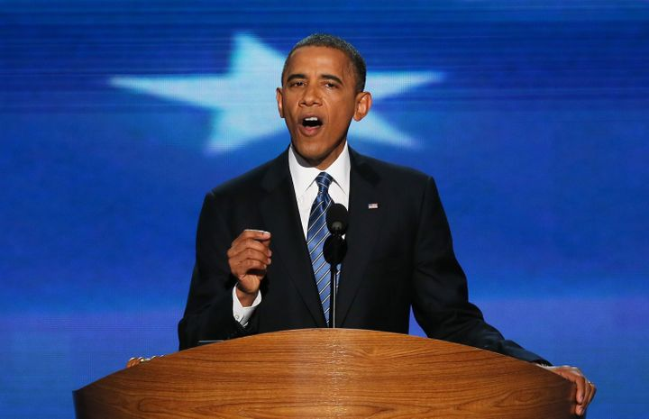CHARLOTTE, NC - SEPTEMBER 06:  Democratic presidential candidate, U.S. President Barack Obama speaks on stage to accept the n
