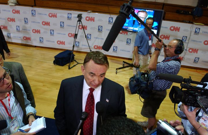 MANCHESTER, NH - JUNE 5:  Republican presidential candidate, former Wisconsin Gov. Tommy G. Thompson speaks to the media afte