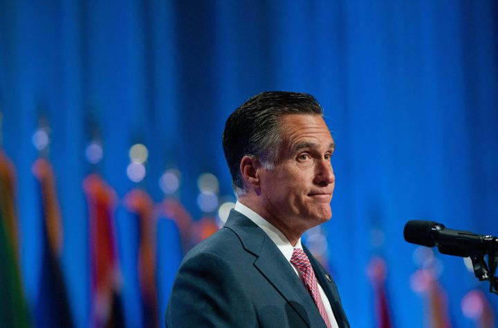 RENO, NV - SEPTEMBER 11:  Republican presidential candidate, former Massachusetts Gov. Mitt Romney addresses the crowd at the