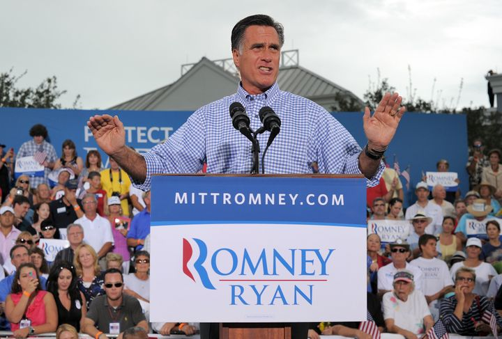 US Republican presidential candidate Mitt Romney speaks during a campaign rally in Port Saint Lucie, Florida, on October 7, 2