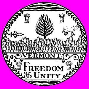 Seal of Vermont (B&W).svg Description Great seal of Vermont.  Although officially adopted in 1937, the seal was created by Ir
