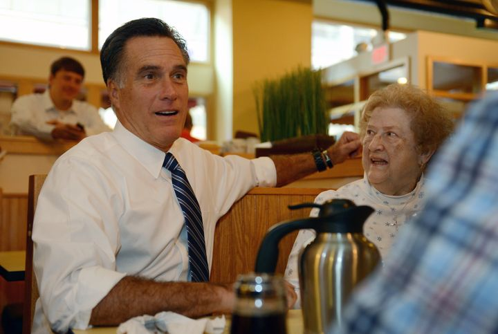 US Republican Presidential candidate Mitt Romney pays a visit to First Watch cafe in Cincinnati, Ohio, October 25, 2012. AFP