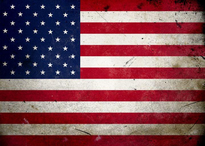 flag on old and vintage grunge...