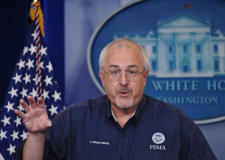 Federal Emergency Management Agency(FEMA) Director Craig Fugate speaks during a briefing August 29, 2011 at the Brady Briefin