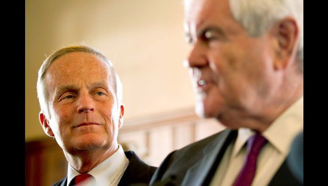 KIRKWOOD, MO - SEPTEMBER 24:   U.S. Rep. Todd Akin (R-MO) and former Speaker of the House Newt Gingrich (R) address the press
