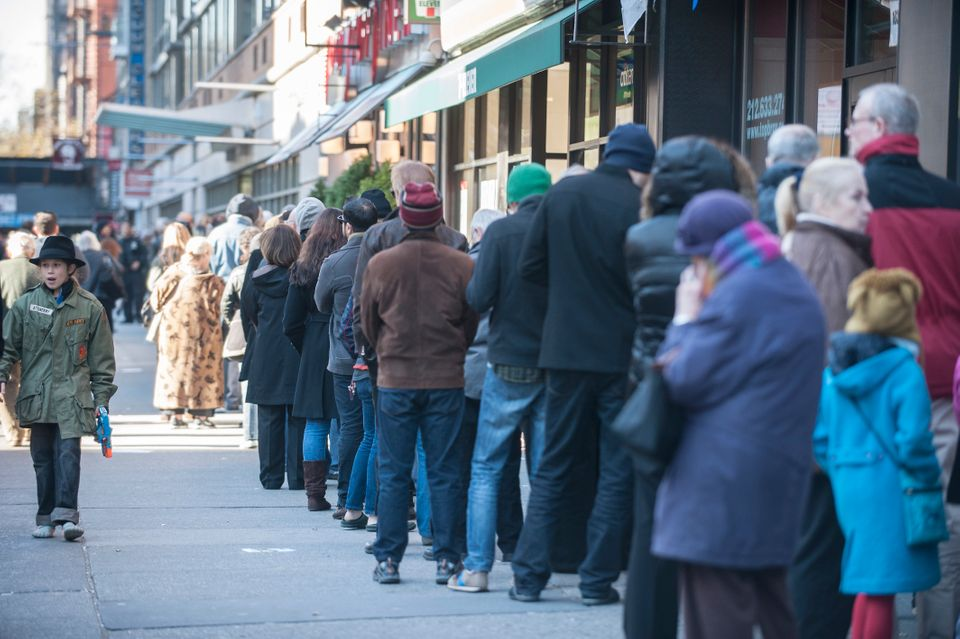 Voters stand in long lines at 125 West 14th Street YMCA poll location in New York Tuesday Nov 6, 2012. (Damon Dahlen, AOL)