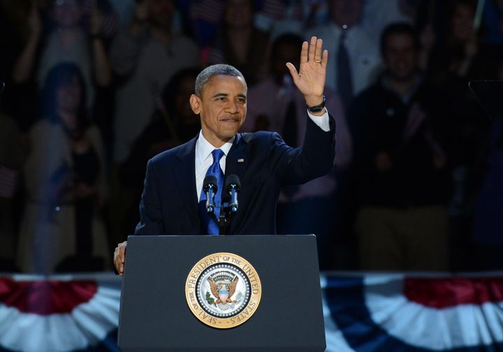 US President Barack Obama arriveS on stage after winning the 2012 US presidential election November 7, 2012 in Chicago, Illin