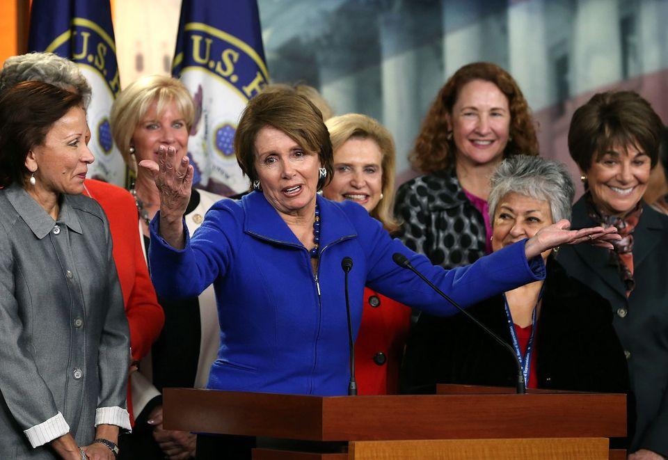 WASHINGTON, DC - NOVEMBER 14: House Minority Leader Rep. Nancy Pelosi (D-CA) speaks to the media as female House Democrats ga