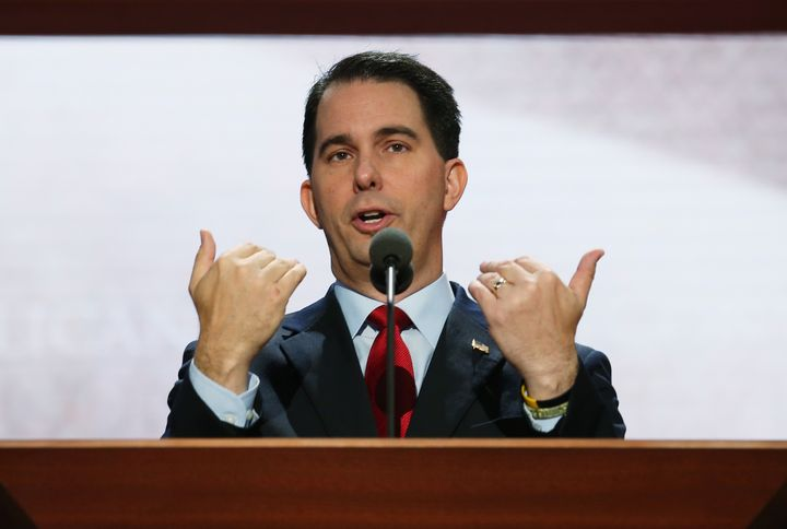 TAMPA, FL - AUGUST 26:  Wisconsin Gov. Scott Walker speaks at the podium ahead of the Republican National Convention at the T