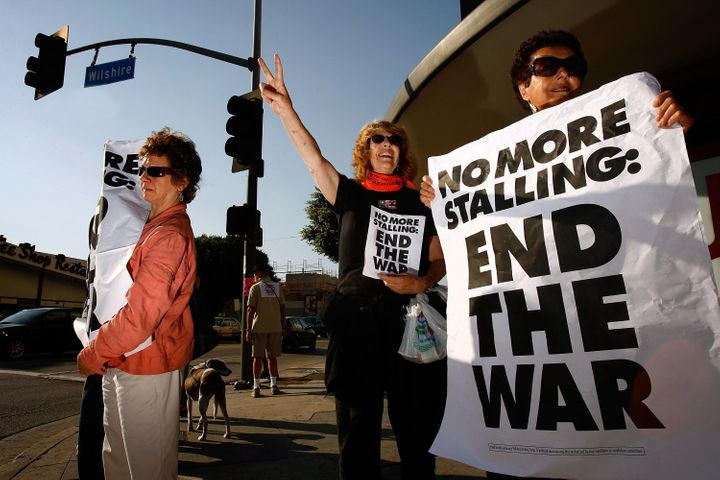 LOS ANGELES, CA - JULY 17:  Protesters organized by MoveOn.org hold a 'counter-filibuster' demonstration, calling upon the U.