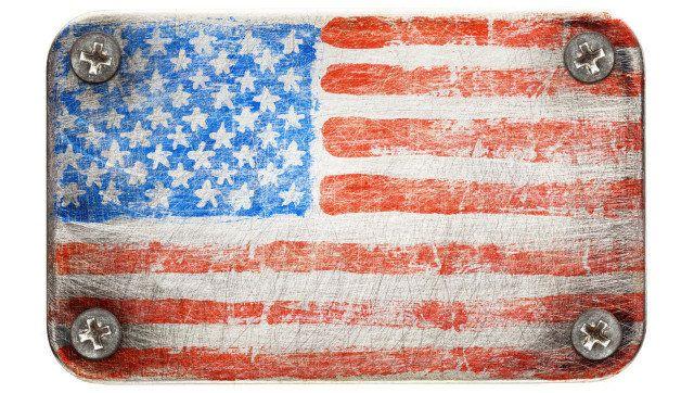 usa flag on metal texture