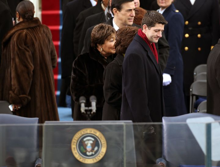 WASHINGTON, DC - JANUARY 21:  U.S. Rep. Paul Ryan (R-WI) arrives during the presidential inauguration on the West Front of th
