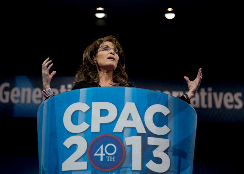 "Former Alaska Gov. Sarah Palin (R) <a href=""https://www.huffpost.com/entry/sarah-palin-cpac-speech-2013_n_2856977?utm_hp_ref="