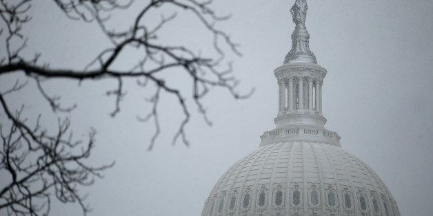WASHINGTON, DC - MARCH 06:  A wet and heavy mixture of rain and snow covers the north side of the bronze Statue of Freedom on