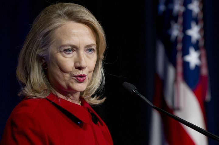 Former Secretary of State Hillary Clinton speaks after receiving awards from Secretary of Defense Leon Panetta and Chairman o