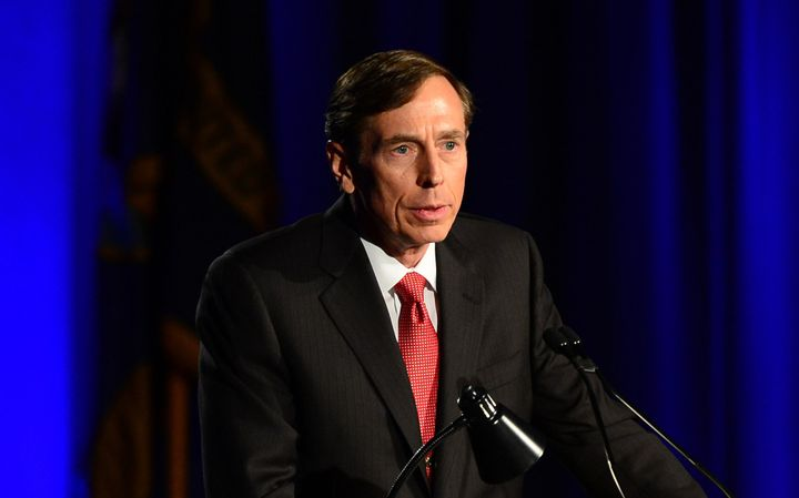 Former CIA director David Petraeus addresses a University of Southern California event honoring the military on March 26, 201