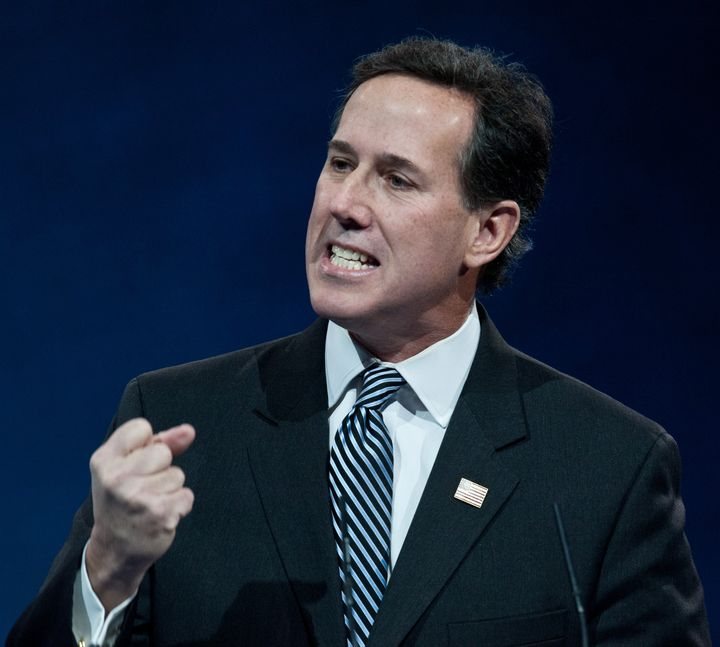 Former US Republican Senator from Pennsylvania Rick Santorum speaks at the Conservative Political Action Conference (CPAC) in National Harbor, Maryland, on March 15, 2013. AFP PHOTO/Nicholas KAMM (Photo credit should read NICHOLAS KAMM/AFP/Getty Images)