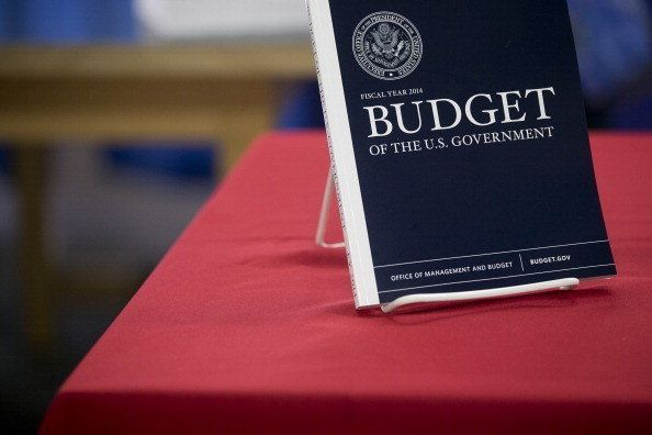 A copy of the Fiscal Year 2014 Budget sits on display at the U.S. Government Printing Office in Washington, D.C., U.S., on Mo