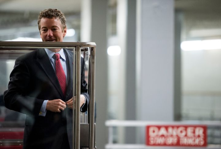 UNITED STATES - MARCH 19: Sen. Rand Paul, R-Ky., arrives in the Capitol via the Senate subway for the Senate policy lunch on