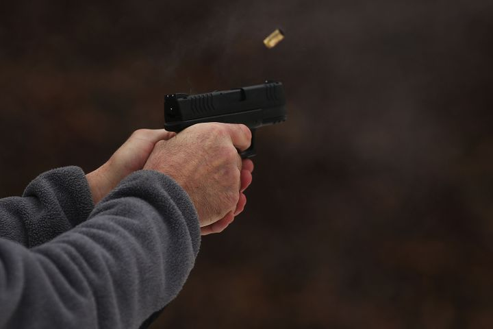 WALLINGFORD, CT - FEBRUARY 24:  Students learn to fire their pistols at a class taught by King 33 Training at a shooting rang