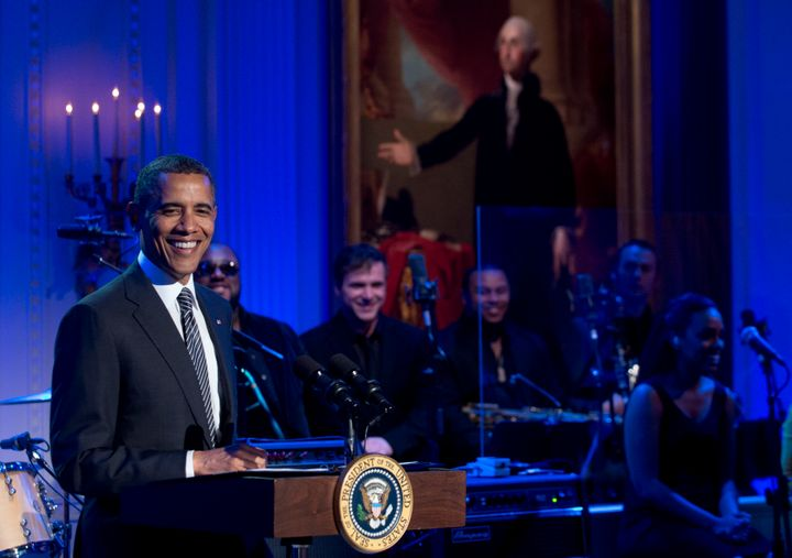 US President Barack Obama speaks during a concert in honor of Memphis Soul music in the East Room of the White House in Washi