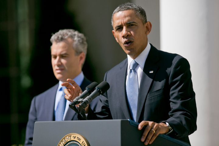 U.S. President Barack Obama, right, speaks in the Rose Garden of the White House with Jeffrey Zients, acting director of the