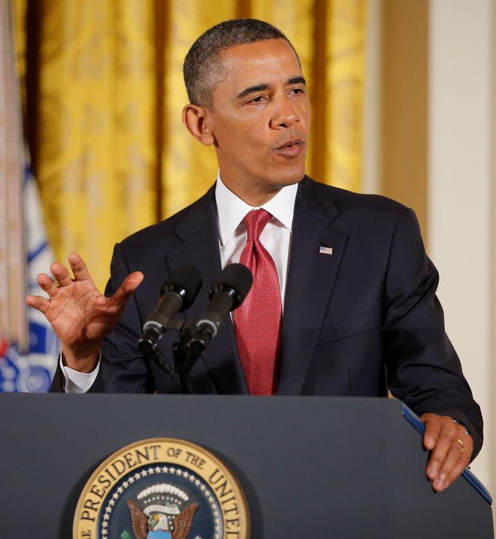 President Barack Obama speaks at a White House ceremony in Washington, D.C., on Thursday, April 11, 2013, before presenting t