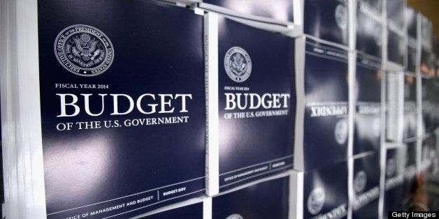 WASHINGTON, DC - APRIL 10:  Copies of the Obama Administration's proposed FY 2014 federal budget are on display before going