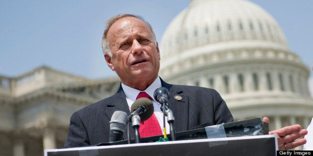 UNITED STATES - AUGUST 2: Rep. Steve King, R-Iowa, and Dr. Rosalie Porter, chairwoman of ProEnglish, speak at a press confere