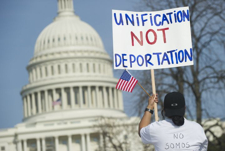 Tens of thousands of immigration reform supporters march in the 'Rally for Citizenship' on the West Lawn of the US Capitol in