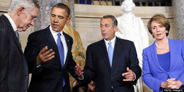 Senate Majority Leader Harry Reid, a Democrat from Nevada, from left, U.S. President Barack Obama, House Speaker John Boehner