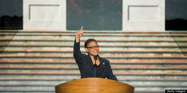 UNITED STATES - SEPTEMBER 5: Rep. Karen Bass, D-Calif., delivers her speech to the Democratic National Convention at Time War