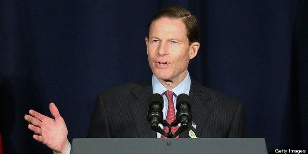 DANBURY, CT - FEBRUARY 21: U.S. Sen. Richard Blumenthal (D-CT) speaks during a conference on gun violence at Western Connecti