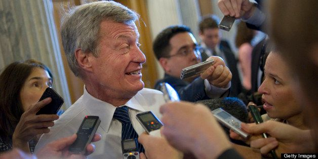 UNITED STATES - APRIL 9: Sen. Max Baucus, D-Mt., is interviewed by the press before the Senate policy luncheons in the Capito