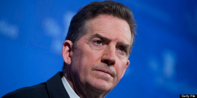 UNITED STATES - MAY 6: Former Sen. Jim DeMint, R-S.C., president of the Heritage Foundation, conducts a news conference at th