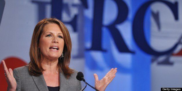 US Representative Michele Bachmann  speaks during The Family Research Council (FRC) Action Values Voter Summit on September 1
