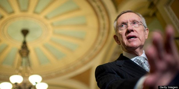 UNITED STATES - MAY 21: Senate Majority Leader Harry Reid, D-Nev., conducts a news conference in the Capitol's Ohio Clock Cor