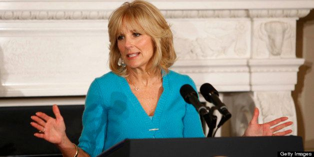WASHINGTON, DC - FEBRUARY 25:  (AFP OUT) Dr. Jill Biden speaks  to the National Governors Association in the State Dining roo