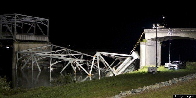 MT. VERNON, WASHINGTON  - MAY 23: The scene of a bridge collapse int the Skagit River on Interstate 5 is pictured May 23, 201