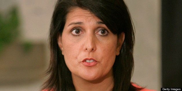 South Carolina Governor Nikki Haley speaks at a news conference on Friday, July 6, 2012, at the State House in Columbia, Sout