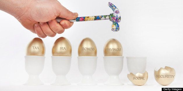 Person breaking golden eggs labeled social security, savings, bonds, IRA, and tax with a hammer