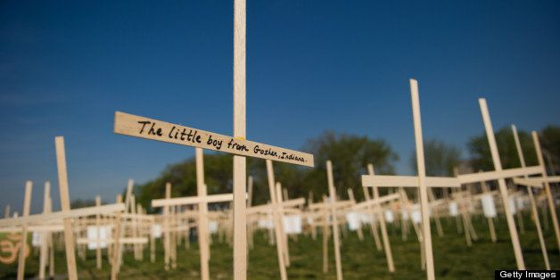 Hundreds of crosses, representing gun deaths since the Newtown, Connecticut elementary shootings, are placed on the National
